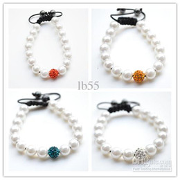 Wholesale best Mixed Color White Pearl Micro Pave CZ Disco10mm Ball Bead High Quality Micro Pave Crystal Shamballa Bracelet women jewelry hotsale