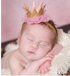 Promotion bébé props accessoires pour la photographie asdy 9 Couleurs bébé Crown Princess Bandeau bébé Bling élastique Chapellerie du nouveau-né bébé Photographie Props dentelle Accessoires cheveux Épingle