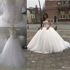 Wholesale 2016 Ball Gown Wedding Dresses with Straps Sweetheart Corset Royal Princess Quinceanera Dress Spring Vintage Wedding Dress with Crystals
