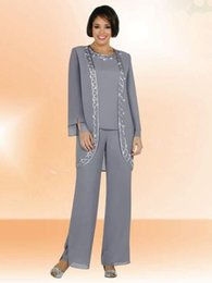 Wholesale Summer Long Pants For Woman - Plus Size Mother Of The Bride Pant Suits with Jacket 3 Pieces Pant Suits for Women Lady Mother Bride Suits Wedding Party