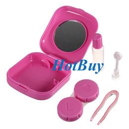 Wholesale Square Pink Mini Espejo Contacto Lente Caja De Almacenamiento Caja Set Accesorios De Gafas