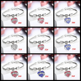 Wholesale 48 Styles Crystal Letter family member best friend hope sister daughter bracelets Sweet love Heart Charm Bracelet Bangle For Women girls