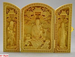 Wholesale Asian Diverse Patterns Decorated Boxwood Highly Difficulty Carved Buddha Statue Folding Box