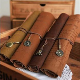 Wholesale Antique nautical treasure map Stationery Gift fashion roll pencil case Big capacity pencil bag Soft leather Pen boxes