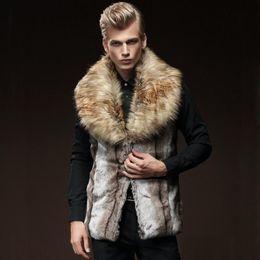 Wholesale Cool Mens Faux Fur Vest Shawl Collar Sleeveless Winter Outwear Waistcoat Slim Fit Striped FUR Jackets Men Ski Parkas