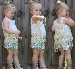 Girls summer floral crochet vest Girl crocheted hollow lace knitted Waistcoat shawl cardigan Poncho Cute tassels fringed tops