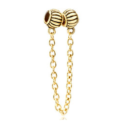 Ladies jewelry gold plated European beads safety chain metal link charm bracelet fits Pandora all brands