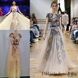 Wholesale Stock Custom Evening Dress - Zuhair Murad 2016 In Stock Evening Dresses Red and Blue haute Couture Cheap Embroidery Crew Short Sleeves A-Line Ankle Length Prom