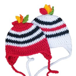 Wholesale Adorable Hockey Team Hat Handmade Knit Crochet Baby Boy Girl Twins Striped Sports Hat Infant Toddler Photo Prop Shower Gifts