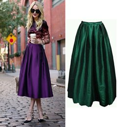 Wholesale Women Maxi Skirt Emoire A Line Pure Colour Taffeta Plus size S M L American Apparel CM Zipper Skirts Elegant High Waist Solid Color Dress