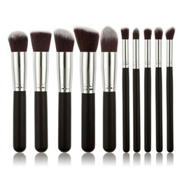 Mybasy Professional 10pcs Kabuki Makeup Brush Set Synthetic Hair Silver Ferrule Basic Make-up Tools Use For Face Beauty Wholesale Price