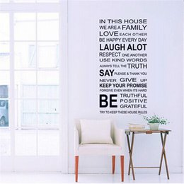 Wholesale 60x115cm Home Family Rules Words Wall Stickers for Kids Rooms Living Room Home Decor Wall Decor Mural Art