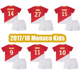Top Quality 2017 2018 Monaco home Kids kit Soccer Jersey 17 18 Kids Kit Monaco soccer shirt Falcao Jovetic Football uniforms sales