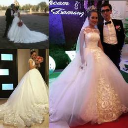 Gorgeous Illusion Crew Neck White Lace Wedding Dresses 2016 Hot Sale Appliques Tulle Chapel Train Beach Bridal Ball Gowns Plus size