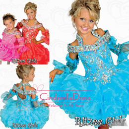 2019 Tutu Girl's Pageant Dresses Ritzee Girls Beaded Halter off shoulder Tiers Organza Off Shoulder Backless Mini Girl Princess Gowns