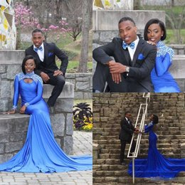 Wholesale 2016 Africa Style Blue Spandex Mermaid Prom Dresses High Neck With Beaded Crystal Long Sleeve Keyhole Front Senior Formal Evening Dresses