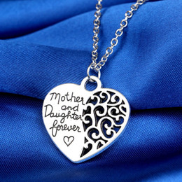 """Fashion mother&daughter Love """"Mom"""" Pendant Necklaces Hollow out Design Heart Alloy Necklace For Mother's Day Gifts Sweater Chain"""