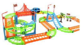 Wholesale Kid Toys Flexible And Amazing Speed Assembled Electric Rail Car Double Layer Racing Track Toys DIY By Your Innovation