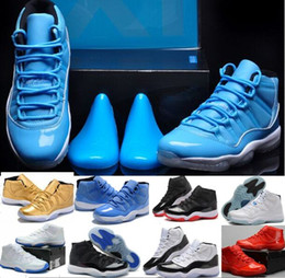 Wholesale 2016 Gamma Blue Men basketball shoes XI Athletic Shoes Retro BRED sports shoes Sneakers Factory Store With Box Basketball Shoes Retro XI