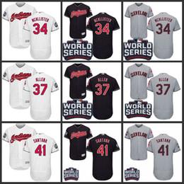 Wholesale 2016 World Series Patch Men s Cleveland Indians Zach McAllister Cody Allen Carlos Santa Flexbase Baseball Jersey S XL