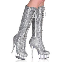 New Arrival Women Sequined Cloth Glitter PU Leather 15cm Heel with Platform Lace up Knee High Boots Thin Heel Boots Fastion Show
