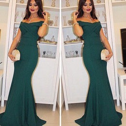 Wholesale African Sexy Off Shoulder Hunter Prom Dresses Evening Wear Teal Green Pleats Mermaid Formal Party Gowns Arabic Custom Made