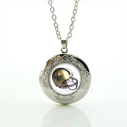 Wholesale New fashionable stylish locket necklace jewelry New Orleans Saints team Newest mix sport helmet bijoux present for men NF124