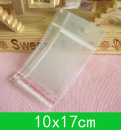 New hanging hole poly bags (10x17cm) with self-adhesive seal opp bag  poly bag for wholesale + free shipping 1000pcs lot