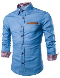 Wholesale Men s Western Fashion Long Sleeve Casual Denim Shirts Jeans Shirts Mens Slim Fit Stylish Cowboy Shirts ASIAN SIZE M XL G5174