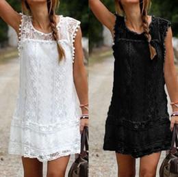 Summer Sexy Women Round Neck Loose Lace Sleeveless Beach A-line Vest Dress Tassel Solid Mini Short Dress