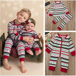 2018 XMas Pajamas Suit Baby One-Piece Romper Boys And Girls Long sleeve Stripe Top+Pants 2 Piece Sets Kids Clothing Children Christmas Gift