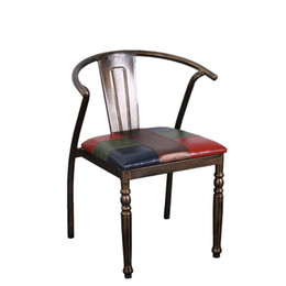 Wholesale 2016 New Style Home Furniture Living Room Antique Metal Leather Leisure Chair A Pair Bar Chair Dining Room Coffee Chairs