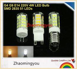 Free shipping AC220V E14 G9 G4 4W LED Bulb Lamp Mini Corn Light 51 SMD 2835 Chip,10pcs lot