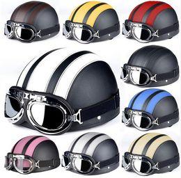 Cascos de moto de época en Línea-Marrón de cuero sintético de la vendimia en motos Cascos Vespa abierta de la cara mitad de motor del envío libre 9 colores