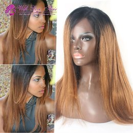 #1b 30 100% virgin Malaysian human hair wig ombre lace front wigs glueless for black women free shipping