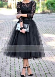 Wholesale Tea Length Bridesmaid Dresses With Long Sleeve Black Vintage Lace Tulle Arabic Wedding Party Prom Gowns Cheap Under Hot