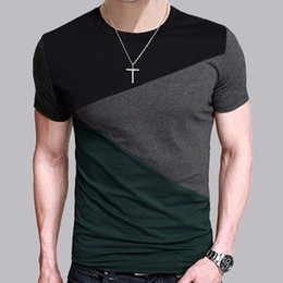 Wholesale 6 Designs Mens T Shirt Slim Fit Crew Neck T shirt Men Short Sleeve Shirt Casual tshirt Tee Tops Mens Short Shirt Size M XL