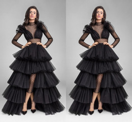 New Design Black Illusion Long Sleeve Evening Dresses Ruffle Tulle High Low Sheer High Neck Waist Cut Prom Gowns Formal Celebrity Dress 2019