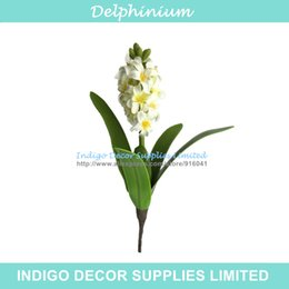 Wholesale Silk Hyacinth Flowers - Promotion New Short Delphinium White Hyacinth With Leaves Decorative Artificial Silk Table Flower Home Party Free Shipping