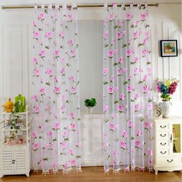 Wholesale Floral Tulle Sheer Curtain Beaded Voile Window Screening Door Balcony Panel Drape Curtain Cover Colors