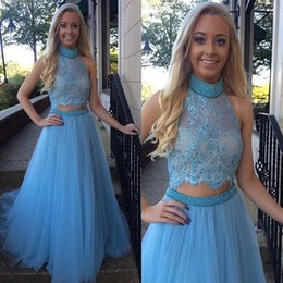 2016 Gorgeous High Collar Two Piece Prom Dress Beading Handmade Tulle Evening Gown Blue Lace Crop Top Prom Party Gowns