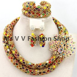 african jewelry sets multicolor Dubail Bridal Jewelry Set African Beads Costume Jewelry Set nigerian Fashion necklace bracelet earrings sets