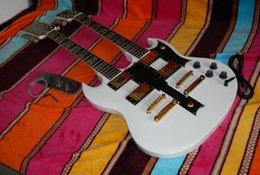 Alta calidad nueva guitarra eléctrica blanca del SG del cuello del cuerpo sólido de la llegada nueva con el hardware del oro desde cuerpo sg fabricantes
