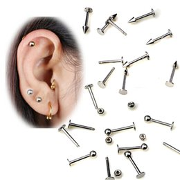 Wholesale 20 PC Stainless Steel Stud Earrings Ear Plug Surgical Tragus Earring Cone Ball Spike Labret Bar Internally Body Piercing Jewelry Labret