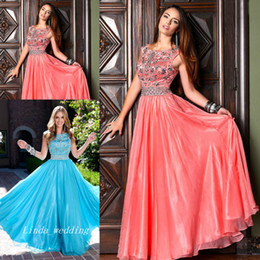 Free Shipping Popular Social Ice Blue Turquoise Coral Modest Beaded Prom Dress Elegant Long Fromal Dress Girls Homecoming Dress