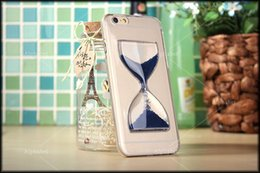 Wholesale Crystal Clear Sand Clock Sand Glass Transparent Flowing Hourglass Pattern Back Cover Phone Case for iPhone inch inch