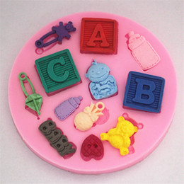 Wholesale Silicone D Cake Mould Fondant Mold Baby Accessory Bottle Pin Bear Letter ABC Bakeware chocolate sugarcraft candy moule pc