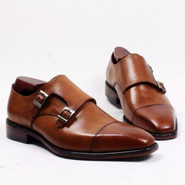 Men Dress shoes Monk shoes Custom handmade shoes Genuine calf Leather Color Brown strap double buckles HD-248