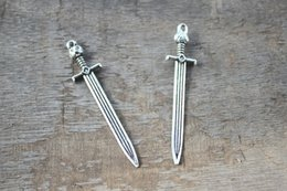 Wholesale 7pcs sword Charms Antique silver Game of throne John snow sword charms pendants x14mm