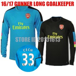 Wholesale 2016 Long Sleeve Petr Cech Jersey Arsenal Goalkeeper Soccer Jerseys David Ospina Martinez OZIL ALEXIS GIROUD Full Gunners Football Kit